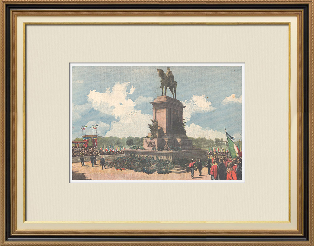Antique Prints & Drawings | Equestrian Statue of Garibaldi in Janiculum - Emilio Gallori, sculptor - Rome - Italy | Wood engraving | 1895