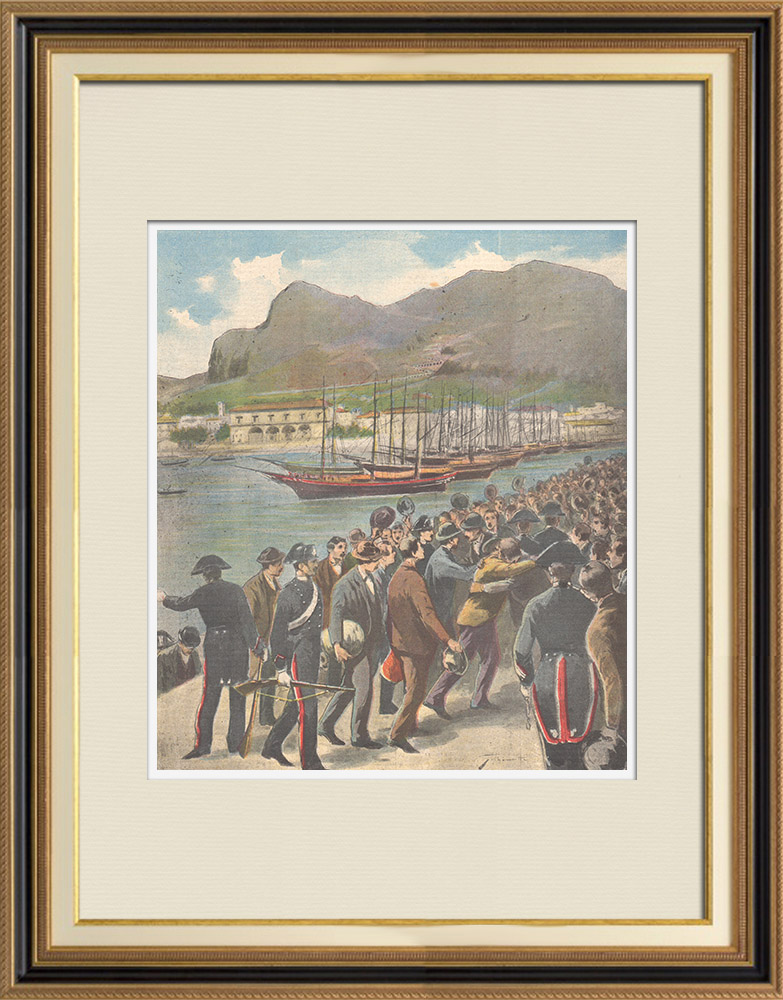 Antique Prints & Drawings   Arrival of a group of convicts in Palermo after the amnesty - Sicily - Italy - 1895   Wood engraving   1895