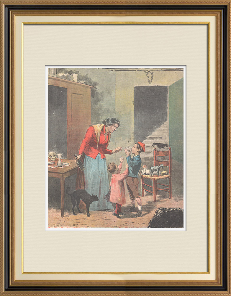 Antique Prints & Drawings | The children's poisoner in Catania - Sicily - Italy - 1895 | Wood engraving | 1895