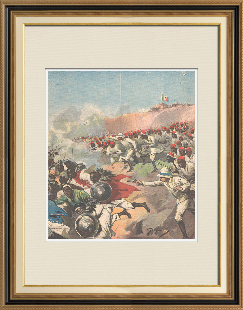 Antique Prints & Drawings | Italo-Ethiopian War - Fight - Battle of Debra Ailà - Ethiopia - 1895 | Wood engraving | 1895