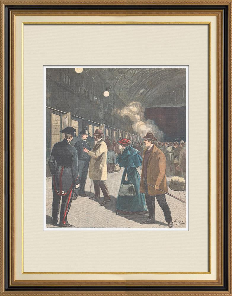 Gravures Anciennes & Dessins   Mlle Sordoillet, gouvernante française, est expulsée de Milan - Italie - 1895   Gravure sur bois   1895