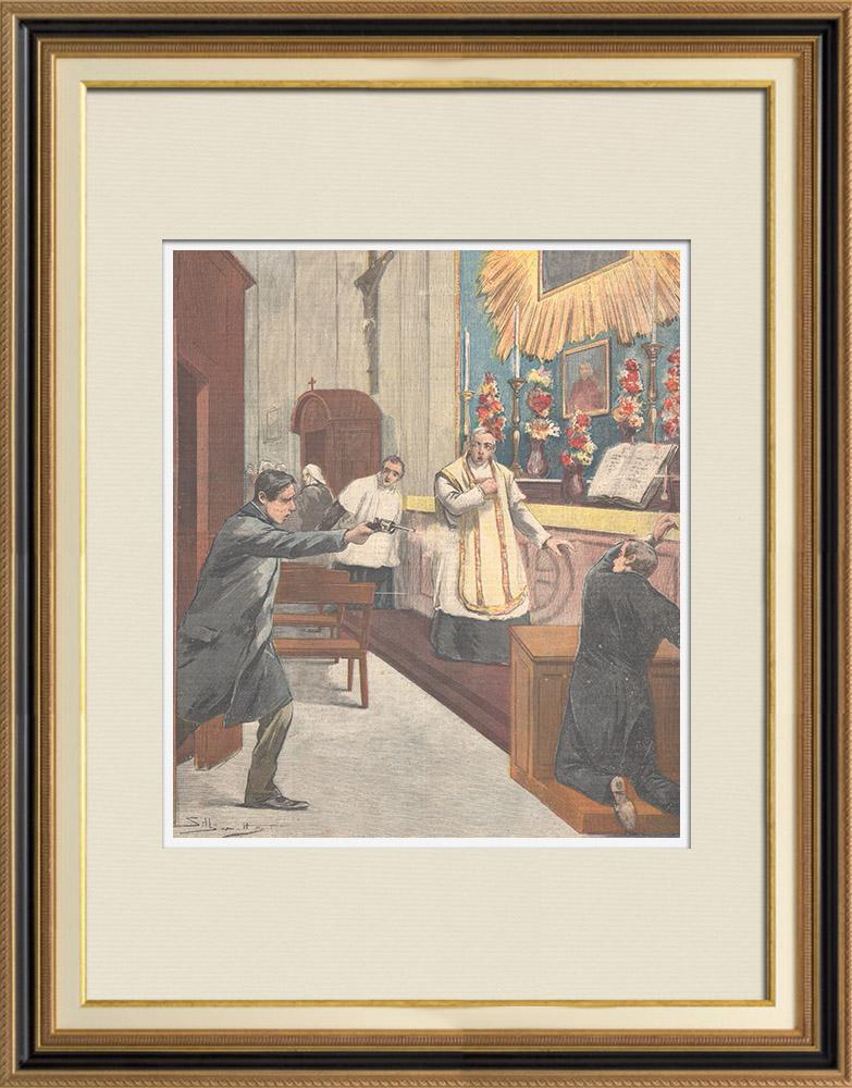 Gravures Anciennes & Dessins | Tentative d'assassinat dans l'église San Nicola de Cesarini à Rome - Italie - 1895 | Gravure sur bois | 1895