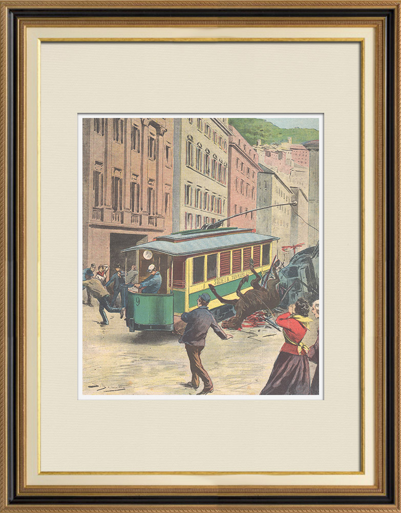 Antique Prints & Drawings   Strange accident of the electric tram of Genoa - Italy - 1895   Wood engraving   1895