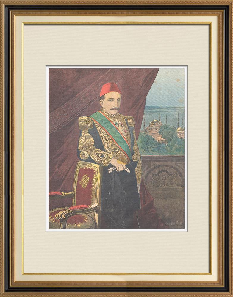 Antique Prints & Drawings   Portrait of sultan Abdul Hamid II (1842-1918)   Wood engraving   1895