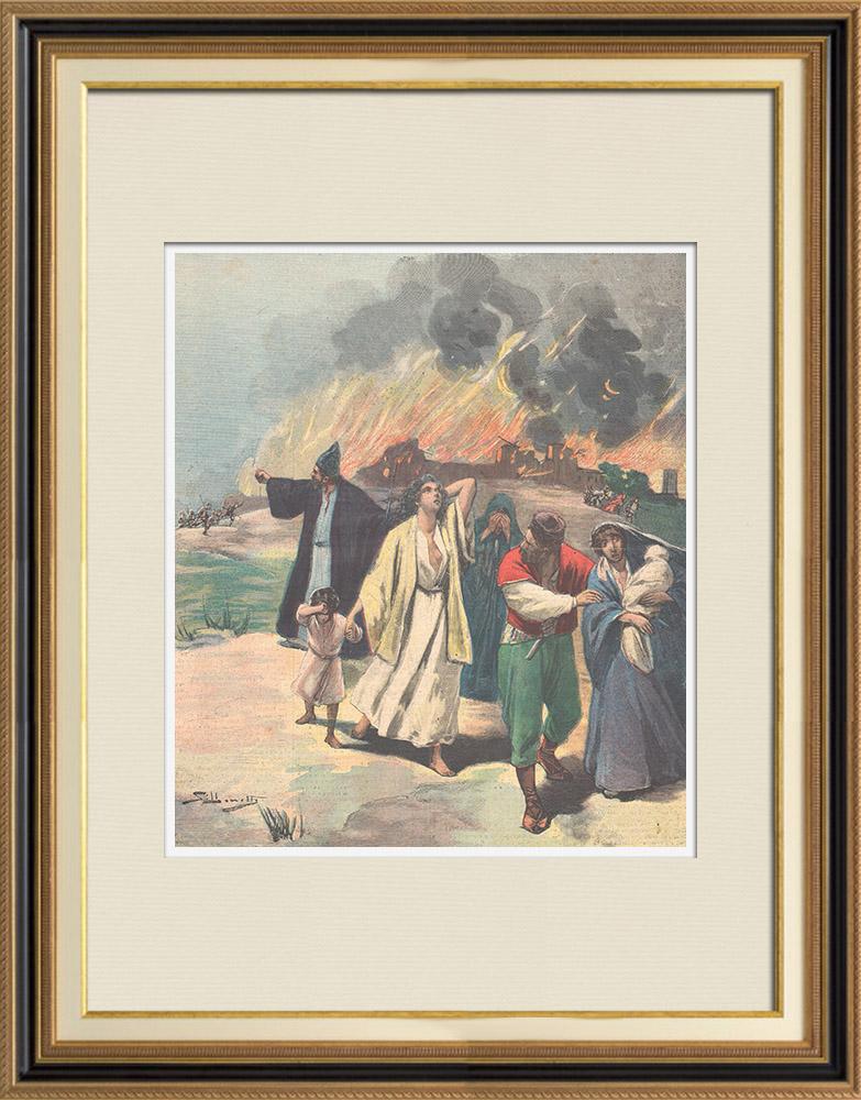 Gravures Anciennes & Dessins | Massacres de chrétiens en Arménie - Exode de la population arménienne - Turquie   | Gravure sur bois | 1895