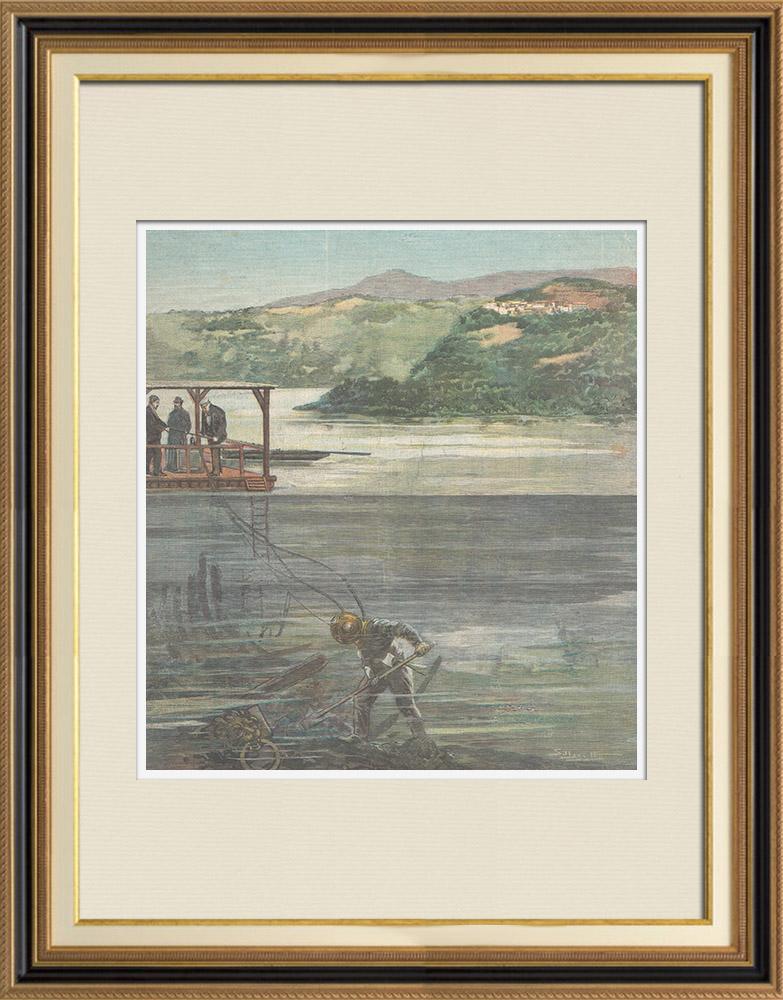 Gravures Anciennes & Dessins   Navire de Tibère - Rome Antique - Un scaphandrier fouille le lit du Lac de Nemi - Rome - 1895   Gravure sur bois   1895