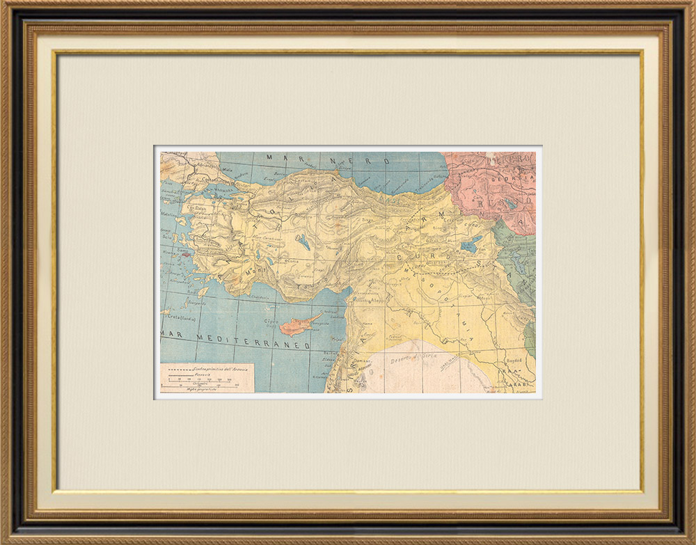 Antique Prints & Drawings   Map of Armenia and surrounding areas - XIXth Century   Wood engraving   1895