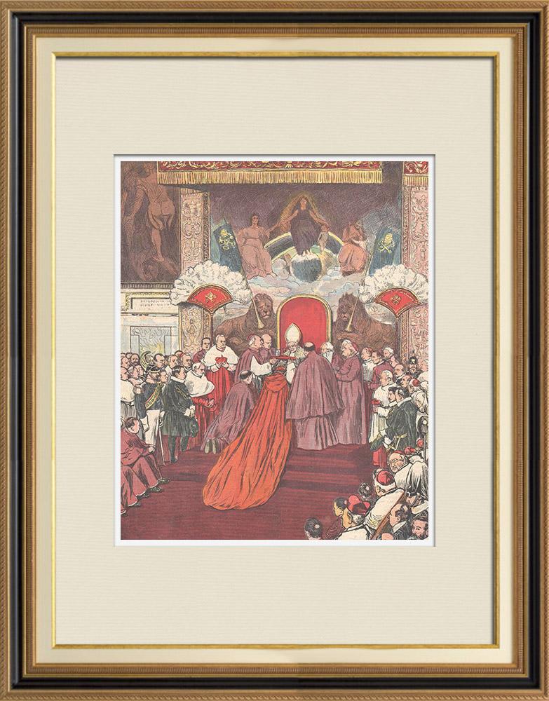 Gravures Anciennes & Dessins   Le Consistoire papal - Le Pape remet le chapeau au nouveau cardinal - Vatican - Italie - 1895   Gravure sur bois   1895
