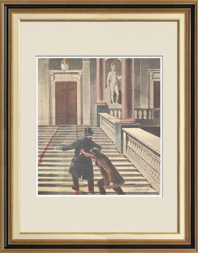 Gravures Anciennes & Dessins | Assassinat du Commendatore Le Pera - Palazzo Braschi à Rome - Italie - 1895 | Gravure sur bois | 1895