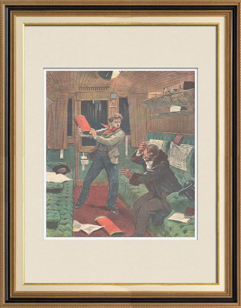 Gravures Anciennes & Dessins   Tentative d'assassinat de l'ingénieur Freulon dans un train près de Paris - France - 1895   Gravure sur bois   1895
