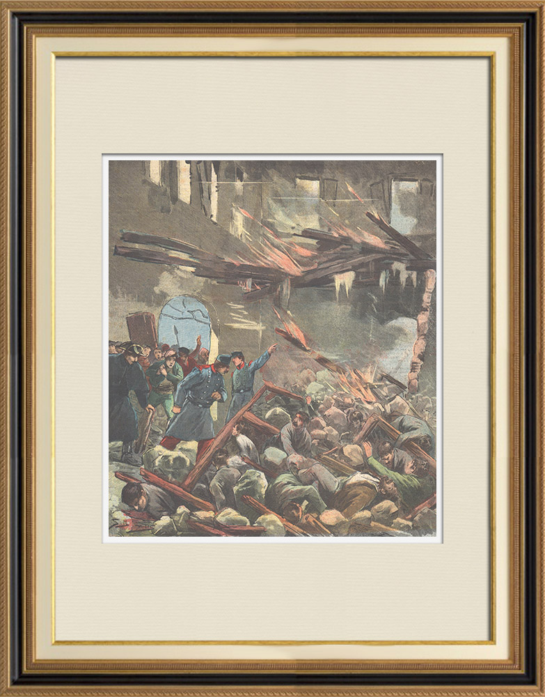Antique Prints & Drawings | Explosion in Palma de Maiorca - Balearic Islands - Spain - 1895 | Wood engraving | 1895
