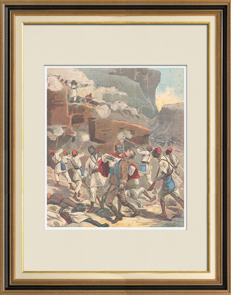 Antique Prints & Drawings   Battle of Amba Alagi - Death of maggiore Pietro Toselli - Ethiopia - 1895   Wood engraving   1895