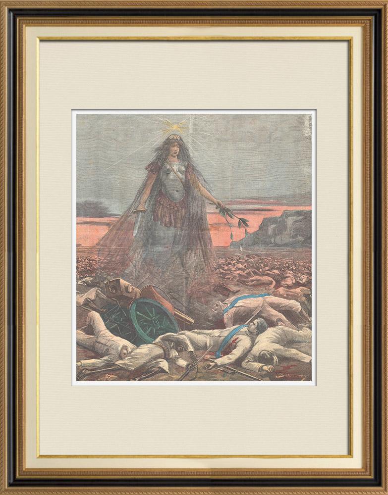Gravures Anciennes & Dessins | Bataille d'Amba Alagi - Mort du major Pietro Toselli - Ethiopie - 1895 | Gravure sur bois | 1895