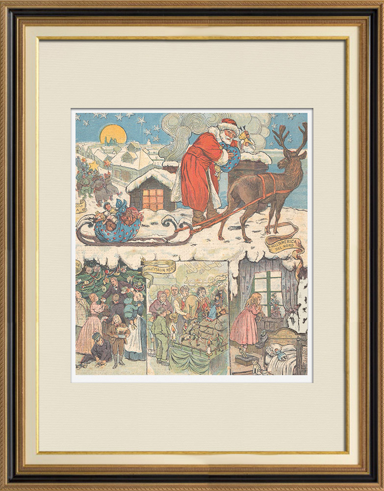 Antique Prints & Drawings | Christmas Day in Little Russia, Germany, North America - XIXth Century  | Wood engraving | 1895
