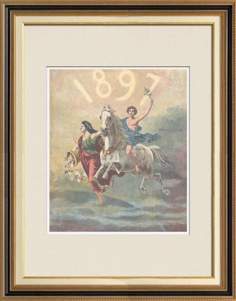 Gravures Anciennes & Dessins | Nouvelle année - 1897 - Allégorie | Gravure sur bois | 1897