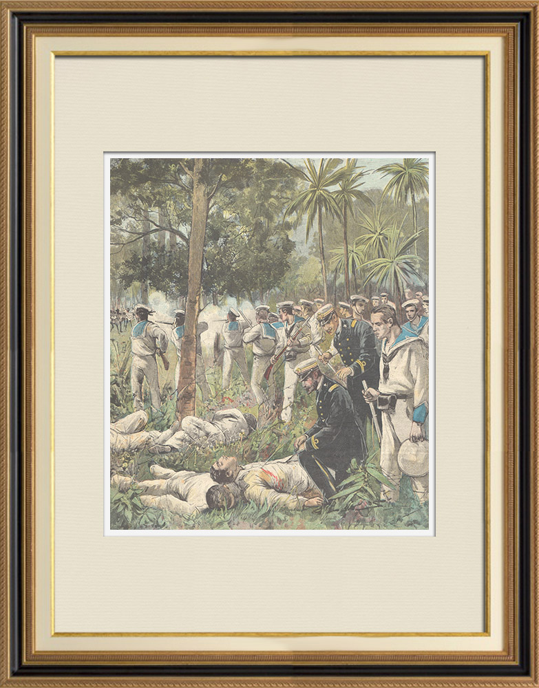 Antique Prints & Drawings | Search for corpses after the Mogadishu massacre - Italian Somaliland - 1897 | Wood engraving | 1897