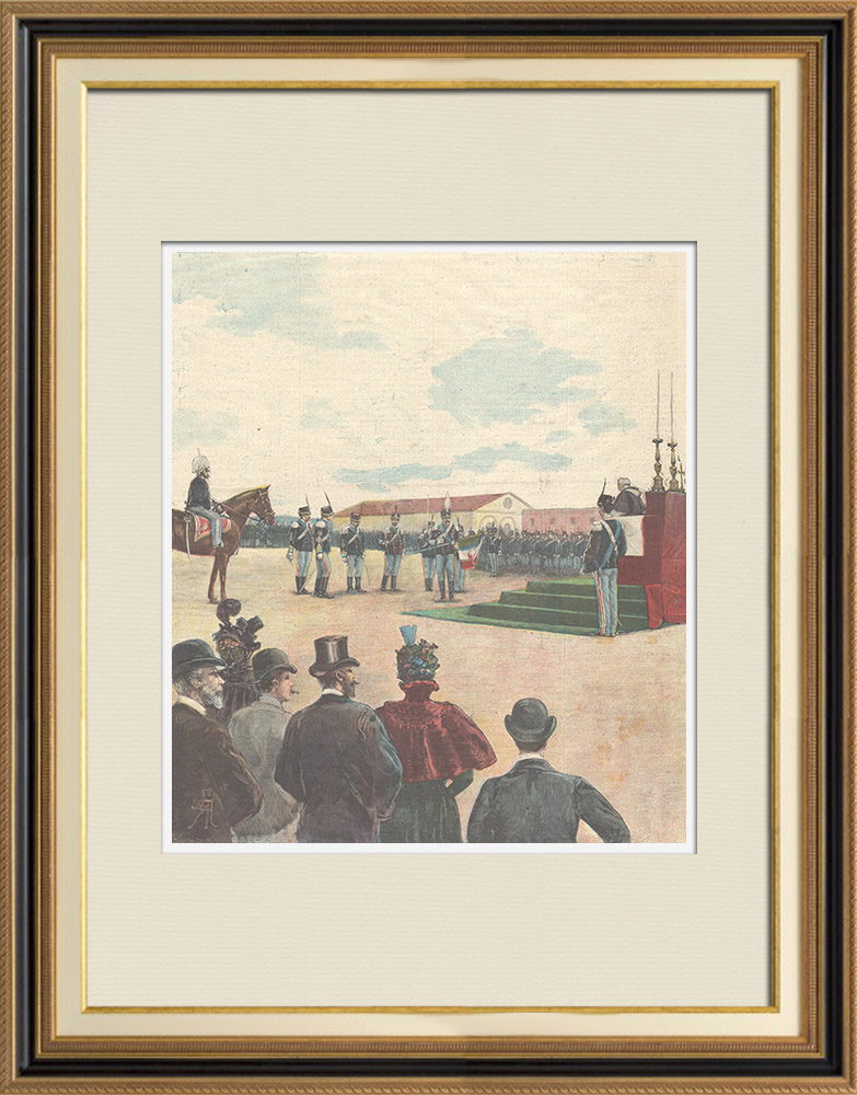 Antique Prints & Drawings | Presentation of the banner to the Cavalry Regiment of Catania - Caserma Macao in Rome - 1897 | Wood engraving | 1897