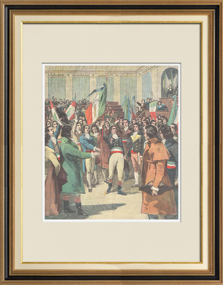 Antique Prints & Drawings | Centenary of the Italian tricolor - 1897 | Wood engraving | 1897