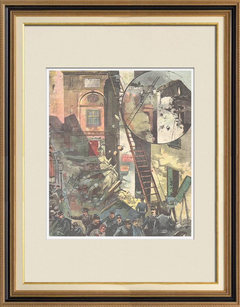 Gravures Anciennes & Dessins   Le désastre de Naples - Italie - 1897   Gravure sur bois   1897