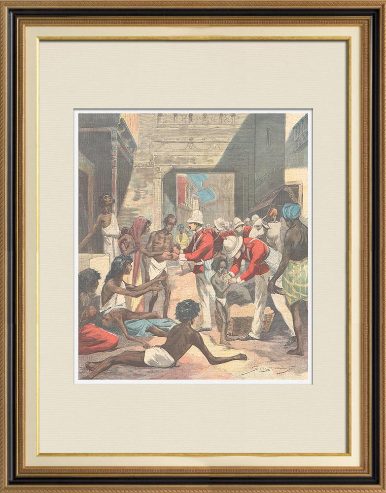 Gravures Anciennes & Dessins | La famine - Scène dans une rue de Calcutta - Inde - XIXème Siècle | Gravure sur bois | 1897