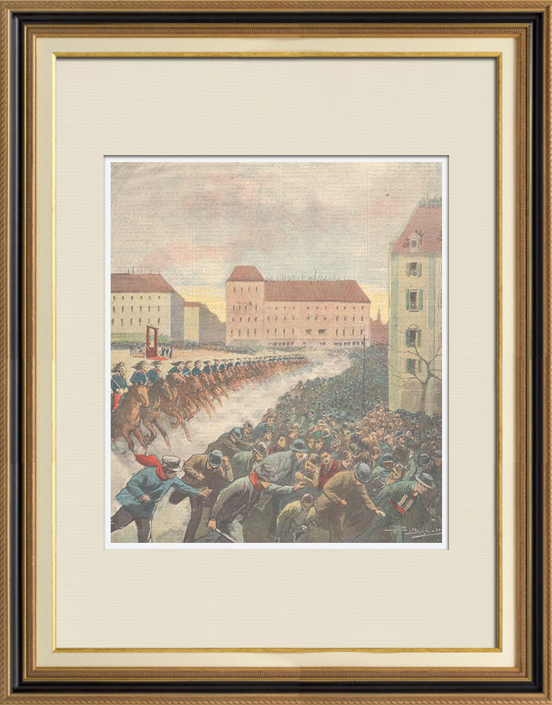 Antique Prints & Drawings | An execution in Hazebrouck - France - 1897 | Wood engraving | 1897