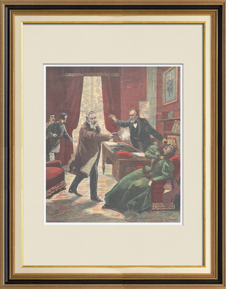 Antique Prints & Drawings | Colonel Fracchia kills his wife at the Turin court - Italy - 1897 | Wood engraving | 1897