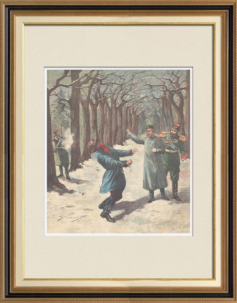 Gravures Anciennes & Dessins | Une sentinelle tue un jardinier du Tsar, le croyant nihiliste - Krasnoe Selo - Russie - 1897 | Gravure sur bois | 1897
