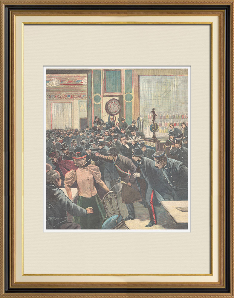 Gravures Anciennes & Dessins | Les étudiants universitaires au Caffè Aragno de Rome - Italie - 1897 | Gravure sur bois | 1897