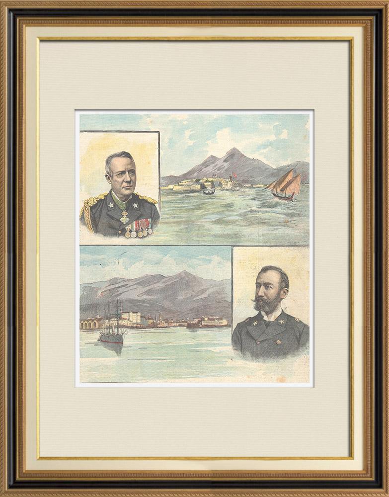 Gravures Anciennes & Dessins | Portraits - Felice Canevaro - Giovanni Giorello - Vue de La Canée - Candie - Crète - Italie | Gravure sur bois | 1897