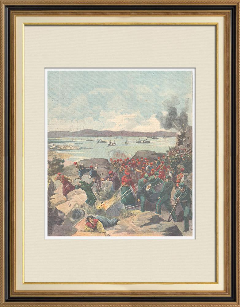 Gravures Anciennes & Dessins | Evénements de Candie - Bombardement du camp des insurgés - Akrotíri - Crète - 1897 | Gravure sur bois | 1897