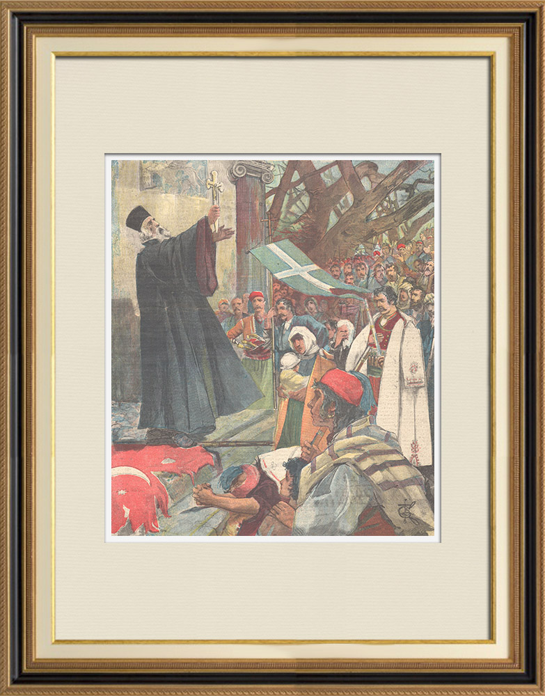 Antique Prints & Drawings | Insurgency in Candia - Blessing of Greek soldiers and flag - Platanias - Crète - 1897 | Wood engraving | 1897