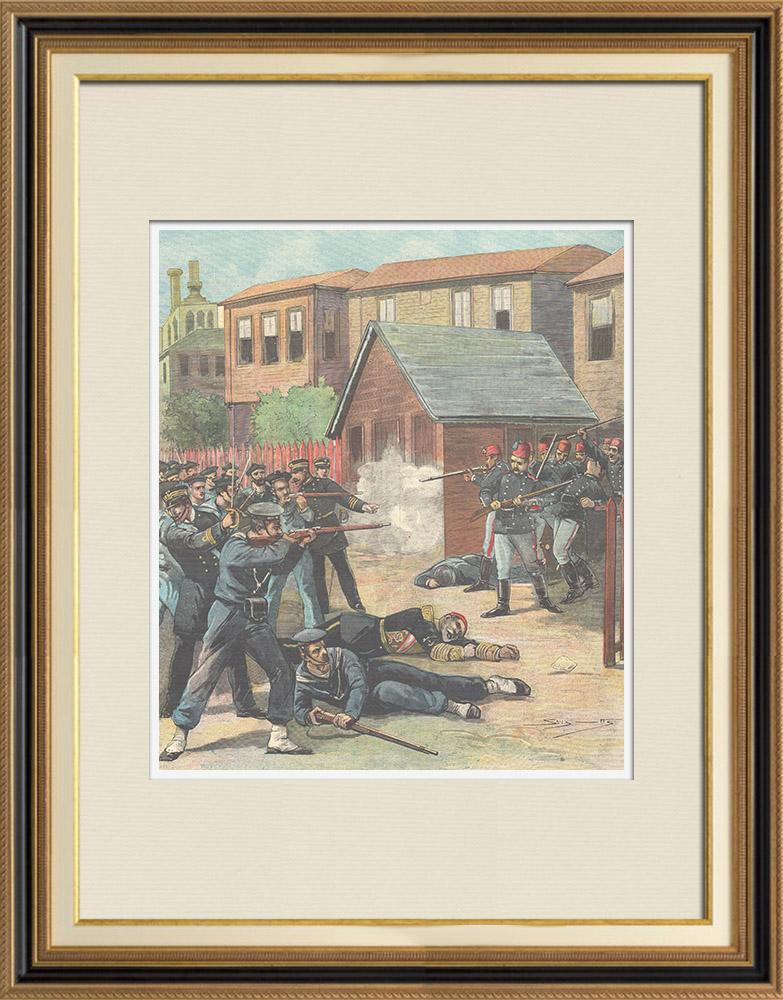 Gravures Anciennes & Dessins | Evénements de Candia - Rébellion des gendarmes Turcs à La Canée - Crète - 1897 | Gravure sur bois | 1897
