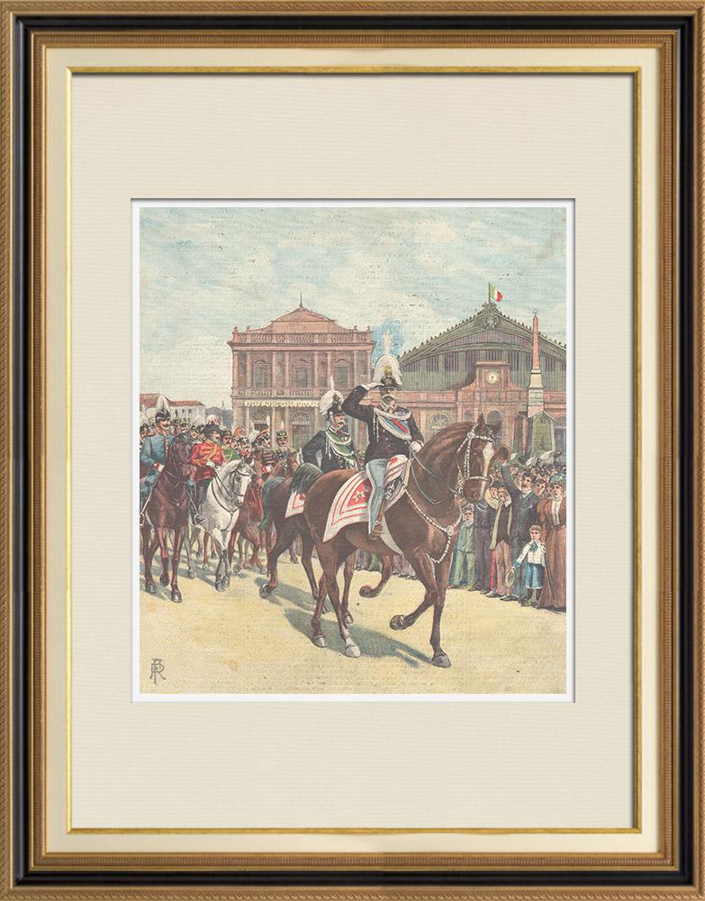 Gravures Anciennes & Dessins | Le Roi de retour de la revue militaire del Macao - Rome - 1897 | Gravure sur bois | 1897