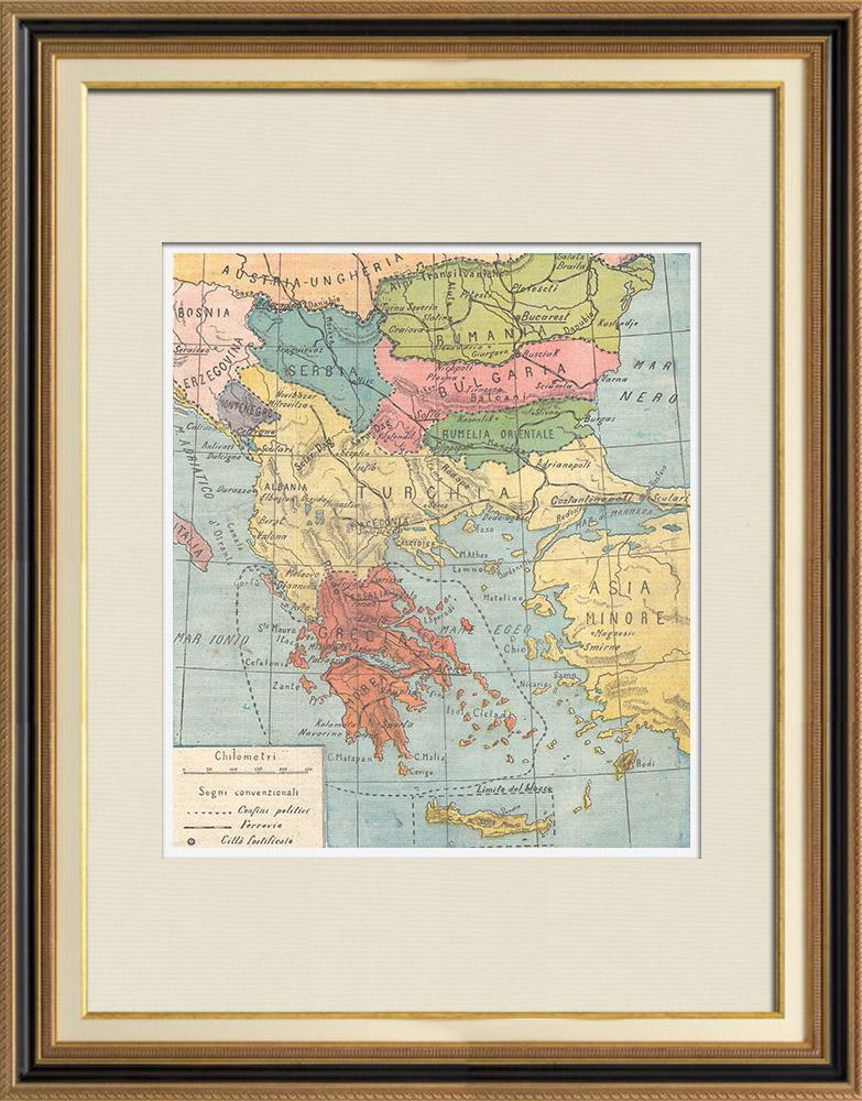 Gravures Anciennes & Dessins   Carte de la Péninsule Balkanique - 1897   Gravure sur bois   1897