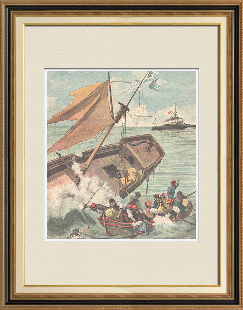 Antique Prints & Drawings | Events in Candia - Shipwreck of a greek sailboat - Capo d'Atria - 1897 | Wood engraving | 1897
