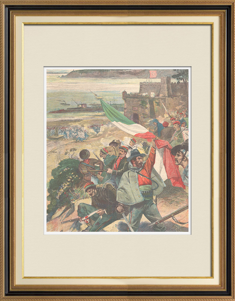 Antique Prints & Drawings | Events in Candia - Fighting Italian volunteers against insurgents - Crete - 1897 | Wood engraving | 1897