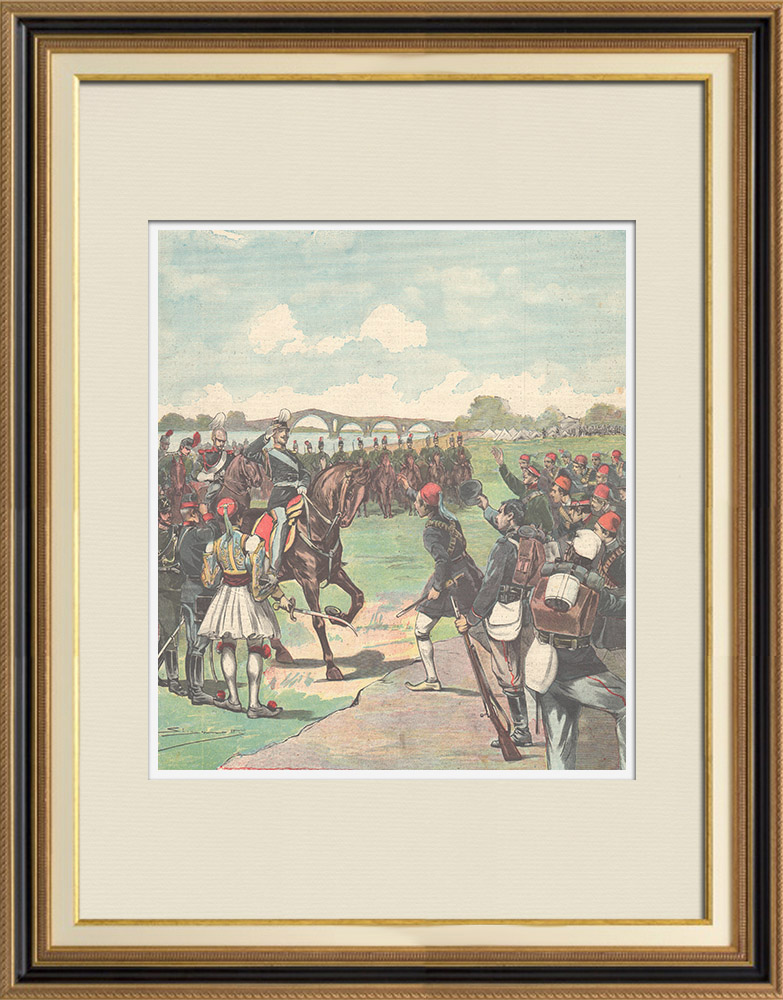 Antique Prints & Drawings | Events of Orient - Arrival of Prince Constantine of Greece in Vólos - 1897 | Wood engraving | 1897