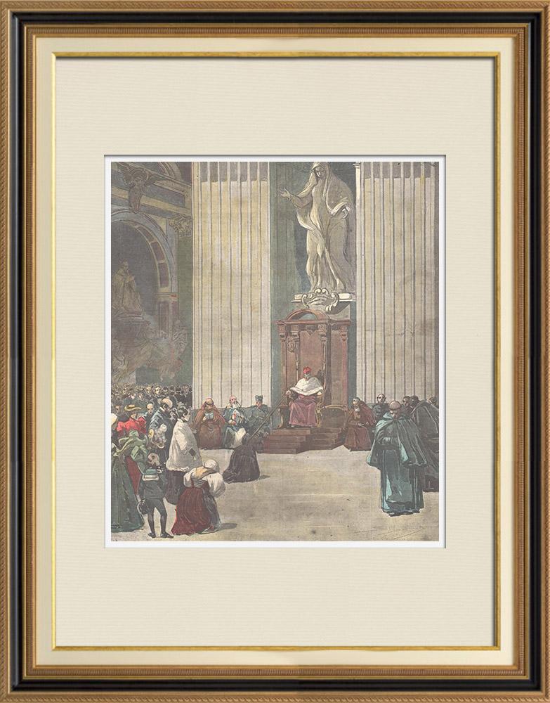 Gravures Anciennes & Dessins | Semaine Sainte à Rome - Distribution des Indulgences à Saint-Pierre de Rome (Italie) | Gravure sur bois | 1897