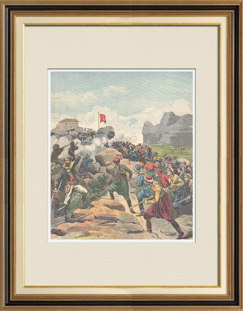 Gravures Anciennes & Dessins | Guerre gréco-turque - Combat à la frontière - 1897 | Gravure sur bois | 1897