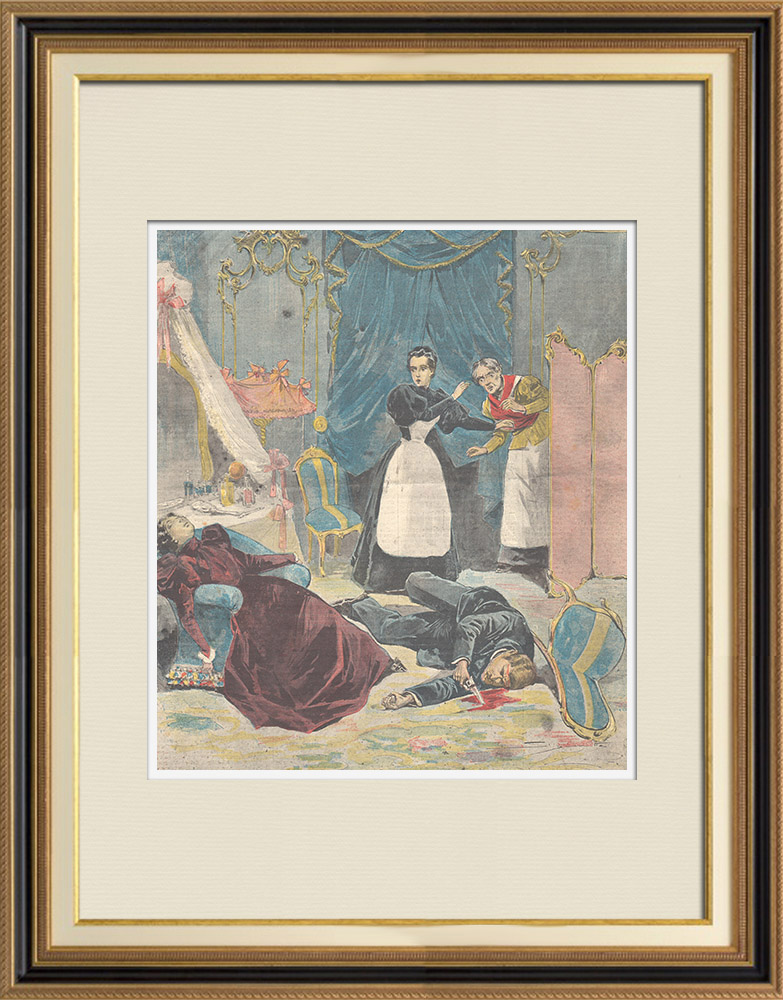 Antique Prints & Drawings | Drama in Naples - Nicola Buonanno kills his wife and commits suicide (Italy) | Wood engraving | 1897