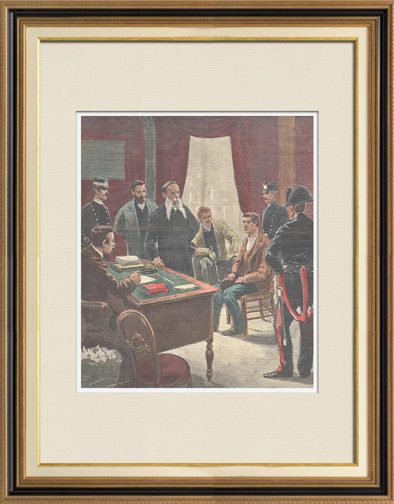 Gravures Anciennes & Dessins | Tentative d'assassinat du Roi par un anarchiste - Interrogatoire - Rome - 1897 | Gravure sur bois | 1897