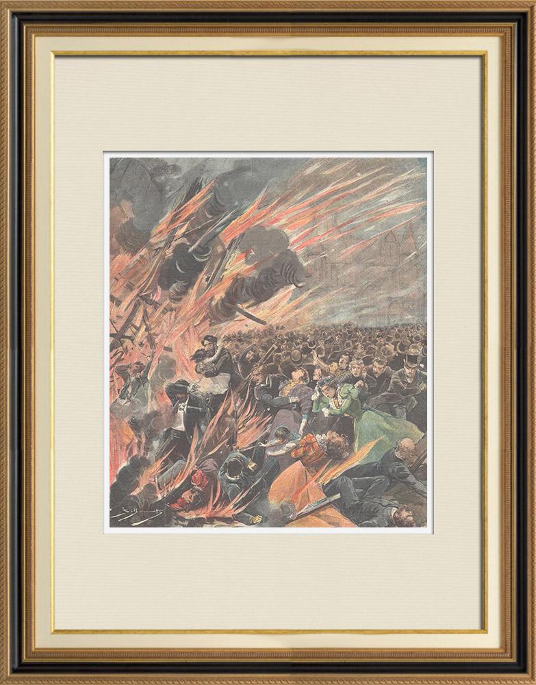 Gravures Anciennes & Dessins | Incendie du Bazar de la Charité à Paris - 1897 (France) | Gravure sur bois | 1897