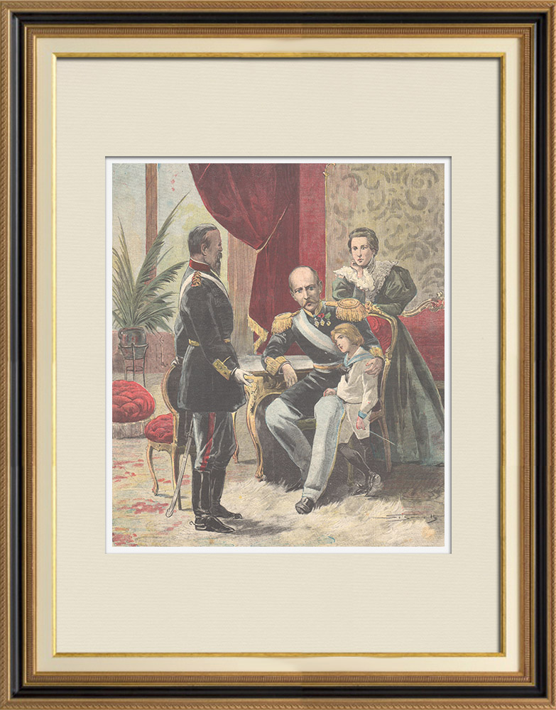 Antique Prints & Drawings | Greco-turkish War - Colonel Vassos is received by King George of Greece - 1897 | Wood engraving | 1897