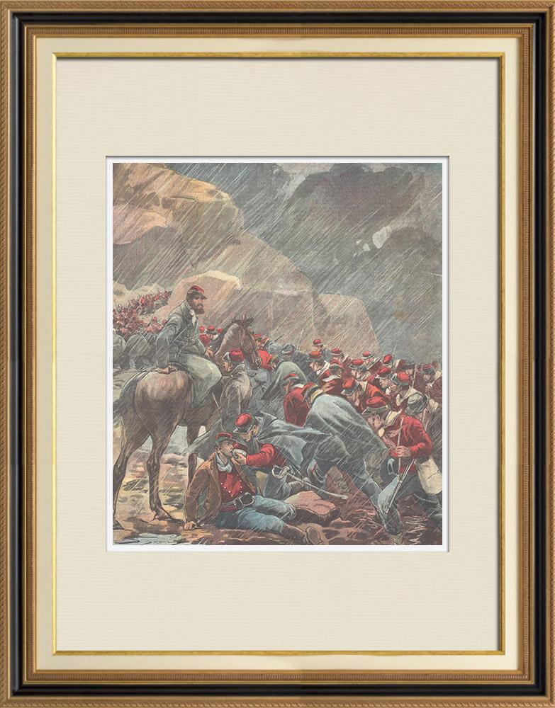 Antique Prints & Drawings   Greco-Turkish War - Garibaldi's soldiers between Lamia and Domokos - Greece - 1897   Wood engraving   1897