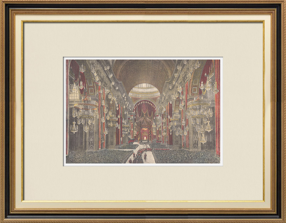 Antique Prints & Drawings | Canonization in the St. Peter's Basilica in the Vatican - Rome (Italy) | Wood engraving | 1897