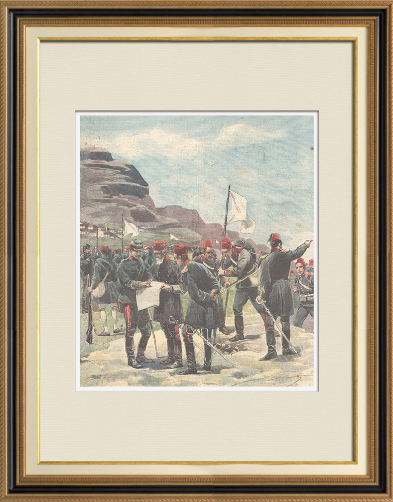 Antique Prints & Drawings   Greco-Turkish armistice - Officers of both armies set the neutral zone - 1897   Wood engraving   1897