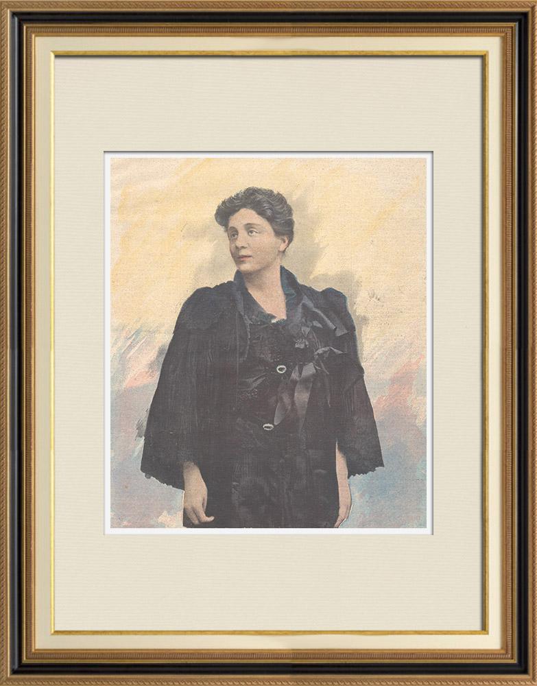 Gravures Anciennes & Dessins | Portrait de Eleonora Duse (1856-1924) | Gravure sur bois | 1897