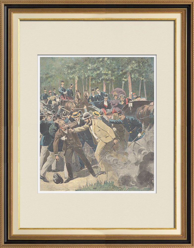 Antique Prints & Drawings | Attack against Félix Faure, President of the French Republic - Paris (1897) | Wood engraving | 1897