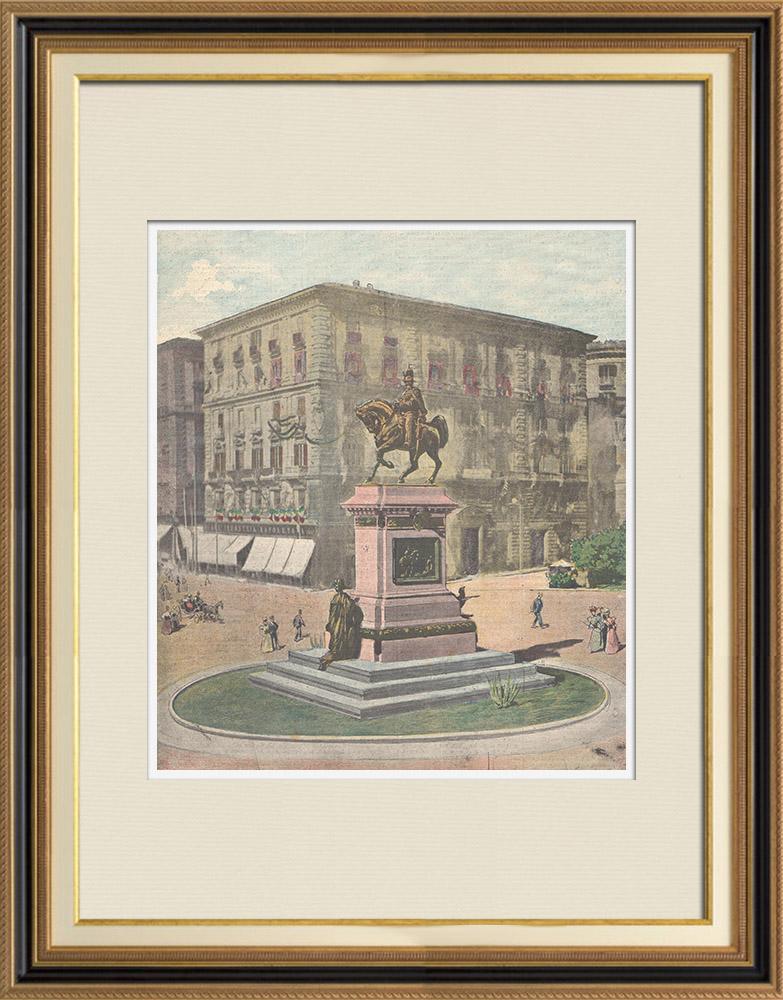 Gravures Anciennes & Dessins | Statue équestre de Victor-Emmanuel II à Naples (Italie) | Gravure sur bois | 1897
