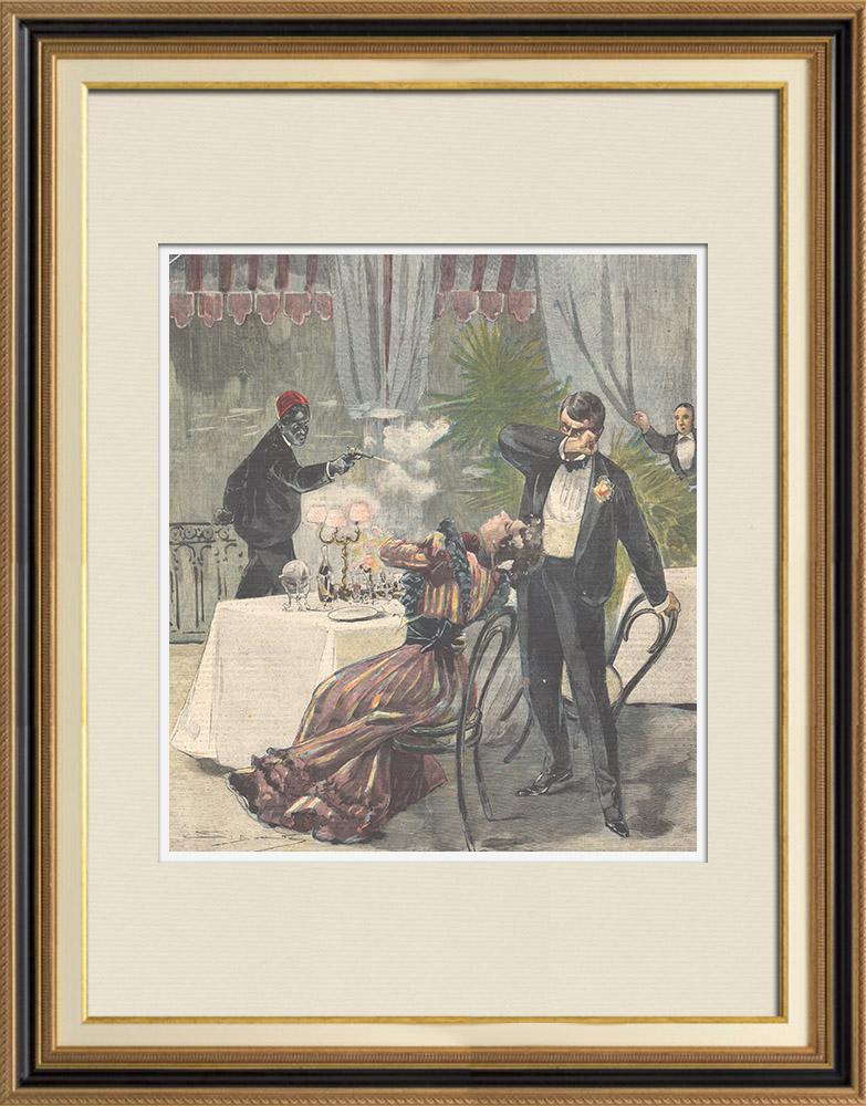 Gravures Anciennes & Dessins | Tentative d'assassinat du conte Piccone Della Valle - Marseille - France - 1897 | Gravure sur bois | 1897